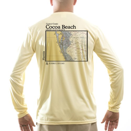 Altered Latitudes Men's Cocoa Beach Chart UPF Long Sleeve T-Shirt X-Small Pale Yellow