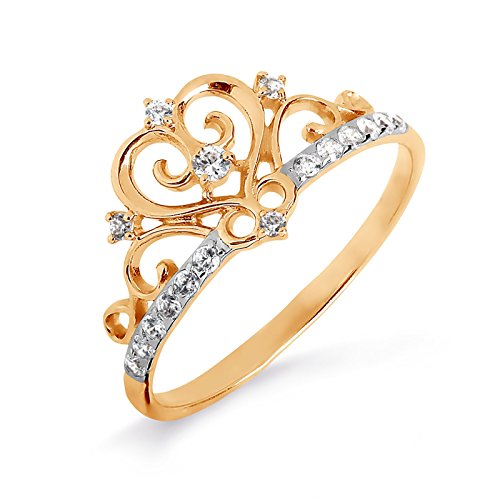 585/14ct russe en filigrane en or rose CZ Bague
