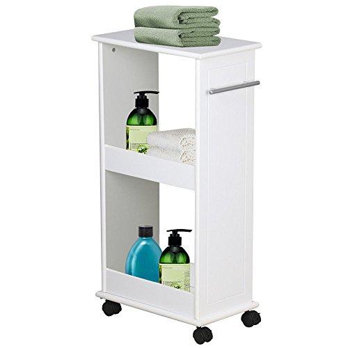 New White Cart Narrow Slimline Rolling Storage Shelf Bathroom Kitchen Space Saver by Unknown