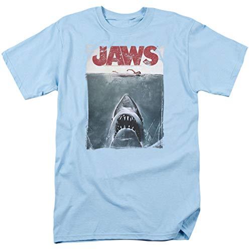 Jaws Shark Original Movie Poster T Shirt (Large) Light Blue