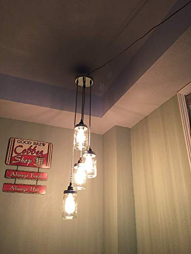 Mason Jar Chandelier Swag Light – NO Hard Wiring Just Hang it up and Plug it in Chrome Sand