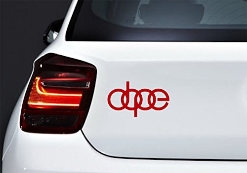 Dope Car Body Window Bumper Vinyl Decal Sticker, Red, Die cut vinyl decal for windows, cars, trucks, tool boxes, laptops, MacBook - virtually any hard, smooth surface