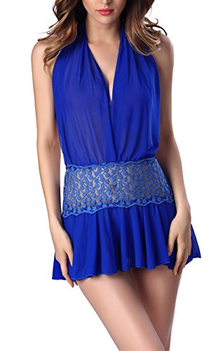 [Passionate Adventure Lingerie Outfits V-String Halter Dot Sleepwear Miniskirt Diaphanous Sexy Blue L (US Size] (Cheap Mrs Claus Outfit)