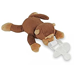 Baby Choice Stuffed Plush Animal Toy with Detachable Infant Pacifier Baby Shower Gift (Monkey)
