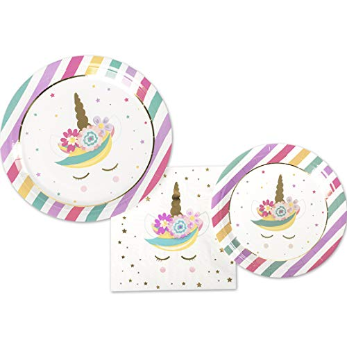 Andaz Press Tableware Unicorn Party Plates and Napkins Set, 24 Piece Set 9-Inch Plates, 7-Inch Plates, and Bulk 40-Pack 6.5-Inch Lunch Napkins, Unicorn, Princess, Pony Birthday Party Decorations Kit