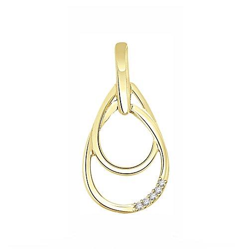 Or Jaune 18 ct Pendentifs Diamant en forme de Ovale, 0.02 Ct Diamant, GH-SI, 1.71 grammes.