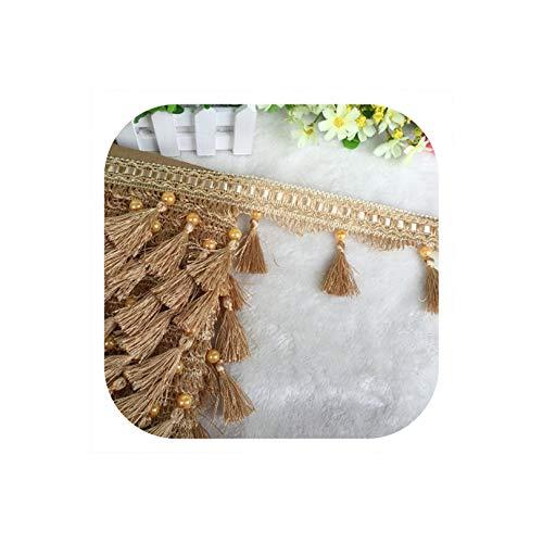 - 12Yard / Lot Lace Tassel Pearl lobbing Fringe Applique Ball Curtain Sofa Tablecloth Accessories lace Trim DIY Decoration Fabric,18 Old Yellow