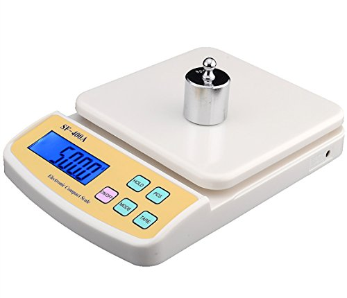 High Precision Electronic Scale Digital Display Jewelry Balance Scale Bench Scale Kitchen Scale Tea/Medicinal Material/Food Scale Food Grade Plastic with Blue Backlight (2000g, ()