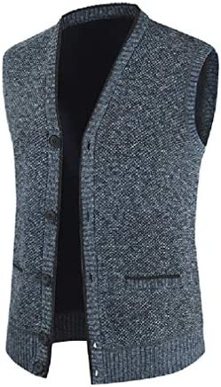 SELX Men Winter Thicken V-Neck Button Up Knit Knitted Sweater Vest