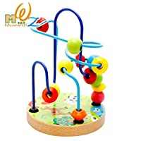 LiangTing First Bead Maze - Wooden Educational Toy Coaster Activity Cube Educational Abacus Beads Circle Toys Gift Colorful Activity Game for Children Toddlers Kids Boys Girls