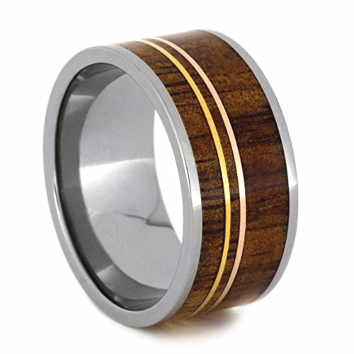 Koa Wood, 14k Yellow and Rose Gold Pinstripes 11mm Comfort-Fit Titanium Wedding Band, Size 12 by The Men's Jewelry Store (Unisex Jewelry)