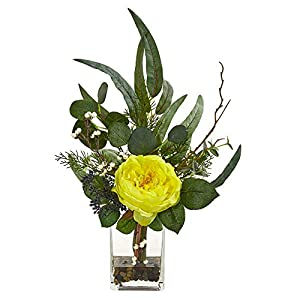 Nearly Natural 1765-YL 21-in. Rose and Eucalyptus Artificial Silk Arrangements Yellow 117