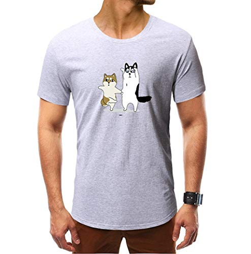 Photno Summer Men's T-Shirt Round Neck Fashion Print Close-Fitting Casual Sweatshirt Short-Sleeved Tops Gray