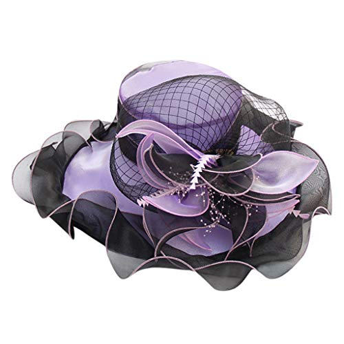 QBQCBB Kentucky Derby Hat Wide Brim Flounce Cocktail Tea Party Bridal Dress Church Hat(Purple)