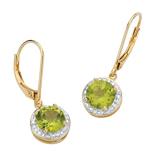 Genuine Green Peridot and Diamond Accent 14k Gold-Plated .925 Silver Pave-Style Halo Earrings