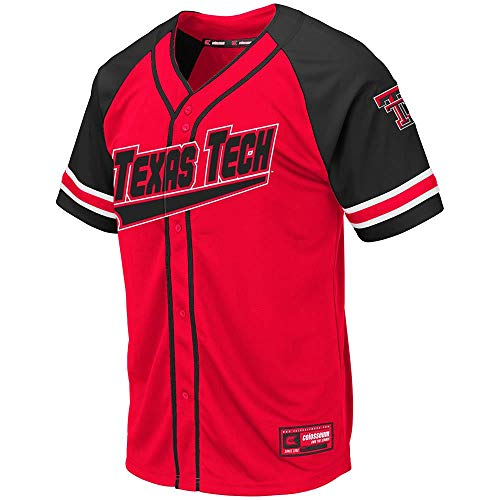 (Colosseum Mens Texas Tech Red Raiders Wallis Baseball Jersey - XL)