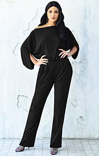 KOH KOH Womens Short Sleeve Sexy Formal Cocktail Casual Cute Long Pants One Piece Fall Pockets Dressy Jumpsuit Romper Long Leg Pant Suit Suits Outfit Playsuit, Black L 12-14 by KOH KOH (Image #2)