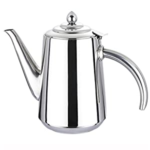 Mirrored Stainless Steel Tea Pot Coffee Kettle with Heat Resistant Handles,50 OZ/1500ML