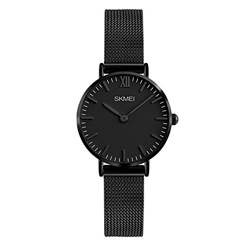 Women's Quartz Watches Ultra-thin Gorgeous Simple Petite Wrist Watches Small Dial Mesh Steel Bracelet (Black)