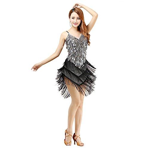 YI NA SHENG WU Robe Sexy de Danse Latine de Frange pour Les Filles Gland Jupe de Danse Latine Silver