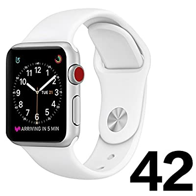 Watch Band 42mm White Soft Silicone Rubber Band for Iwatch series 3 2 1 Sport Edition