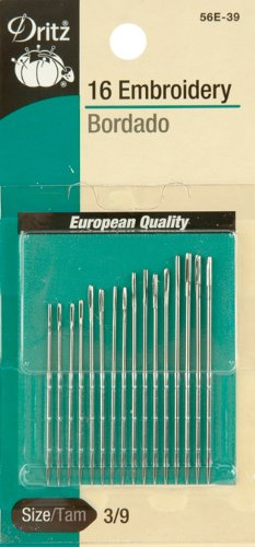 (Dritz 56E-39 Embroidery Hand Needles, Size 3/9 (16-Count))