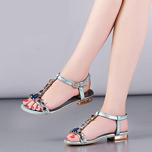 L@YC Women Flat Shoes Summer Dermis Flat With Sandals Diamond Size Code Word Buckle Blue aXyNXBQ