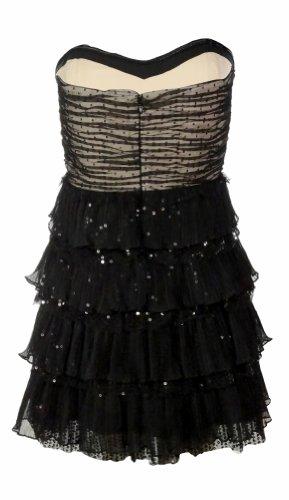 Nine West Womens Glam Rocks Tiered Strapless Dress Black/Nude
