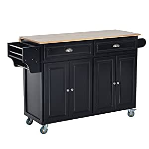 homcom 36 deluxe modern drop leaf kitchen island rolling cart with storage. Black Bedroom Furniture Sets. Home Design Ideas