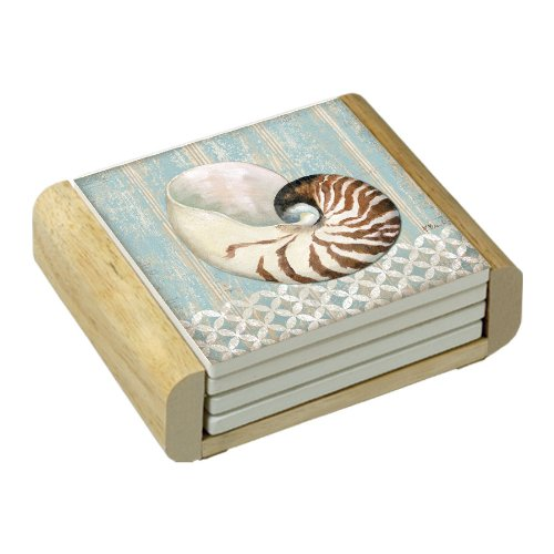 CounterArt Spa Shells Absorbent Coasters in Wooden Holder, Set of 4