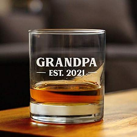 Lplpol Grandpa Est. 2021 - Bold   8 oz Rocas de vidrio o vidrio de moda antigua, refranes grabados, lindo y divertido regalo para abuelos