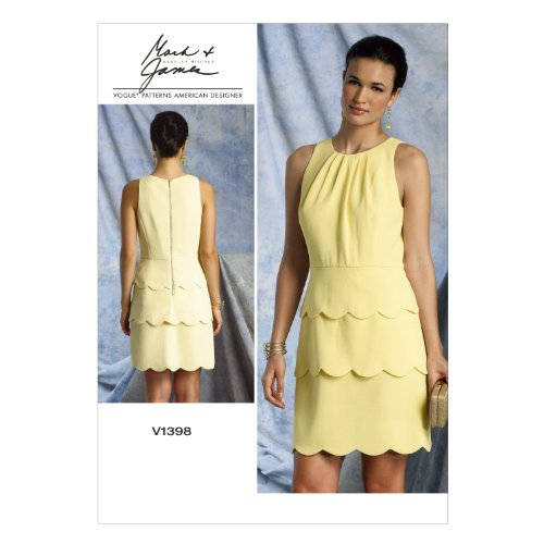 Vogue Patterns V1398 Misses' Dress Sewing Template, Size A5 - Vogue Wear Evening