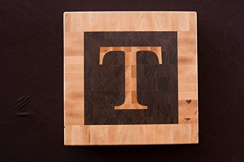 Chopping Blox Personalized end grain cutting board with inlay letter. SIXB-WXX