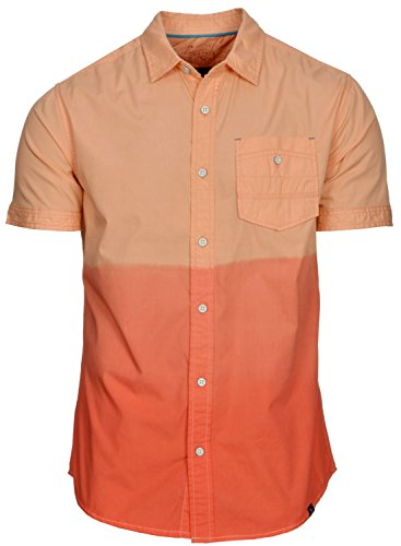 Marc Ecko Cut and Sew Mens 2-Tone Hot Coral Orange Shirt Small S Short Sleeves