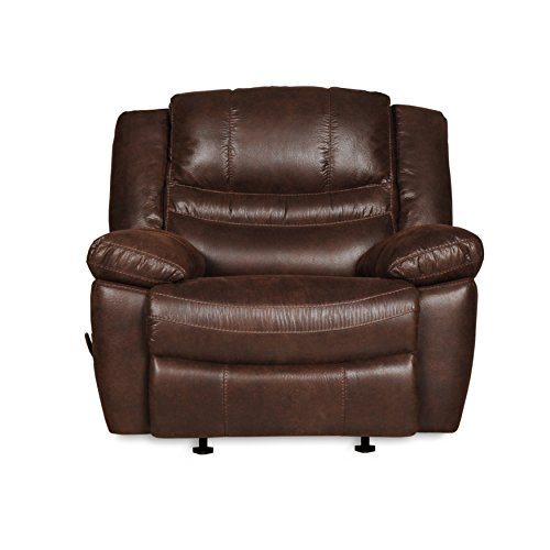 RevoluXion Mason Rocker Recliner with Three Adjustable Positions & Lumbar Support, Durable and Easy to Clean Faux Leather and Plush Cushions for Ultimate Comfort (Espresso)