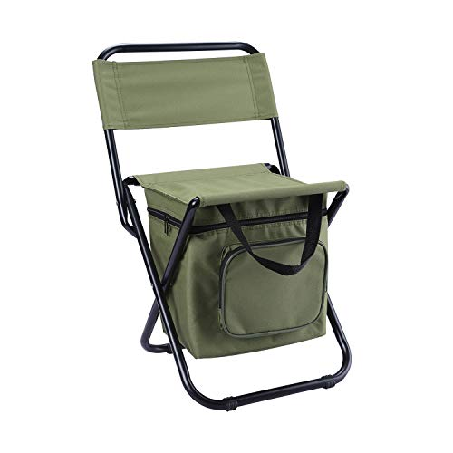 Foldable Camping Chair with Cooler Bag Compact Fishing Stool