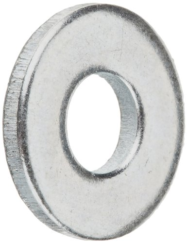 "Steel Flat Washer, Zinc Plated Finish, ASME B18.22.1, No. 6 Screw Size, 5/32"" ID, 3/8"" OD, 0.049"" Thick (Pack of 100)"