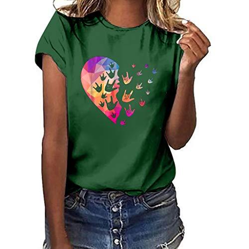 TUSANG Women Tees Plus Size Print Shirt Short Sleeve T Shirt Blouse Tops Slim Fit Comfy Tunic(D-Green,US-14/CN-3XL)