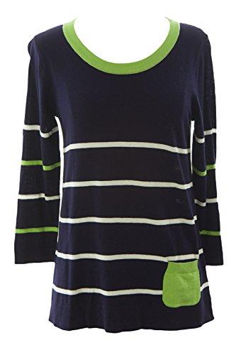 August Silk Women's Striped 3/4 Sleeve Sweater Medium Navy Combo ()
