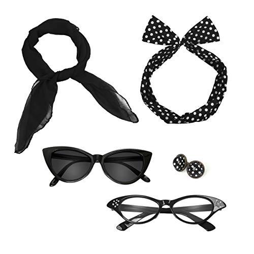Retro 50's Costume Accessories Set Polka Dot Chiffon Scarf Cat Eye Glasses Bandana Tie Headband & Earrings for Girls Women Ladies Dress Up (Black)