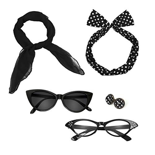 Retro 50's Costume Accessories Set Polka Dot Chiffon Scarf Cat Eye Glasses Bandana Tie Headband & Earrings Girls Women Ladies Dress up (Black) ()