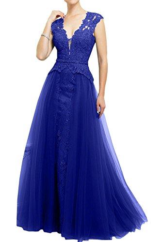 Blau La Glamour A Abendkleider Spitze Ballkleider Dunkel Marie Rock Royal Lang Rosa Brautmutterkleider Braut Linie wprqf6wF