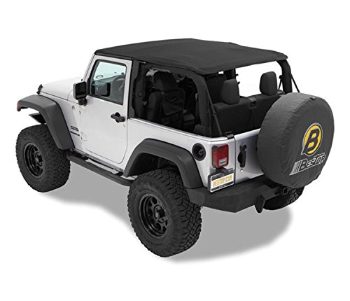 Bestop 56922-17 Black Twill TrekTop NX Complete Frameless Replacement Soft Top with Sunrider Sunroof Feature for 2007-2018 Wrangler 2-Door DISCONTINUED BY MANUFACTURER (Pickup Hardtops)