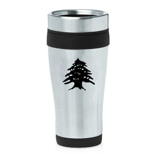 16oz Insulated Stainless Steel Travel Mug Cedar Tree Lebanon Lebanese (Black)