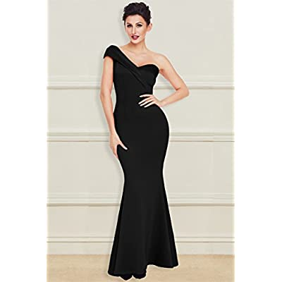 Grace's Secret Women's Sexy One Shoulder Ponti Gown Mermaid Evening Maxi Party Dress: Clothing