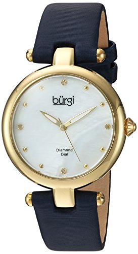 Burgi Women's Quartz Stainless Steel and Leather Casual Watch, Color:Blue (Model: BUR169BU)