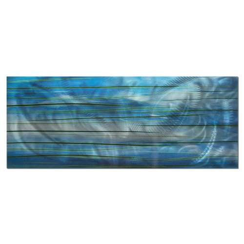 Contemporary Wall Art 'Ocean View' - 48x19in. - Big Aquatic Metal Painting w/ a Flowing Water Design. Green & Blue Oceanic Colors Painted on Metallic Panel. Great for Landscape, Nature, (Blended Panels Wall Art)