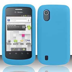 Quaroth - Sky Baby Blue Silicone Gel Cover + Atom LED Keychain Light for ZTE Concord V768 (T-Mobile)