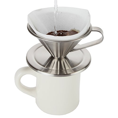 Home-X 1 Cup Pour Over Stainless Steel Coffee Cone Maker. Perfect for Cone Filters