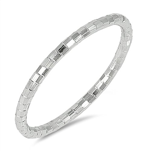 Diamond-Cut Thin Stackable Wedding Ring New .925 Sterling Silver Band Sizes 4-10